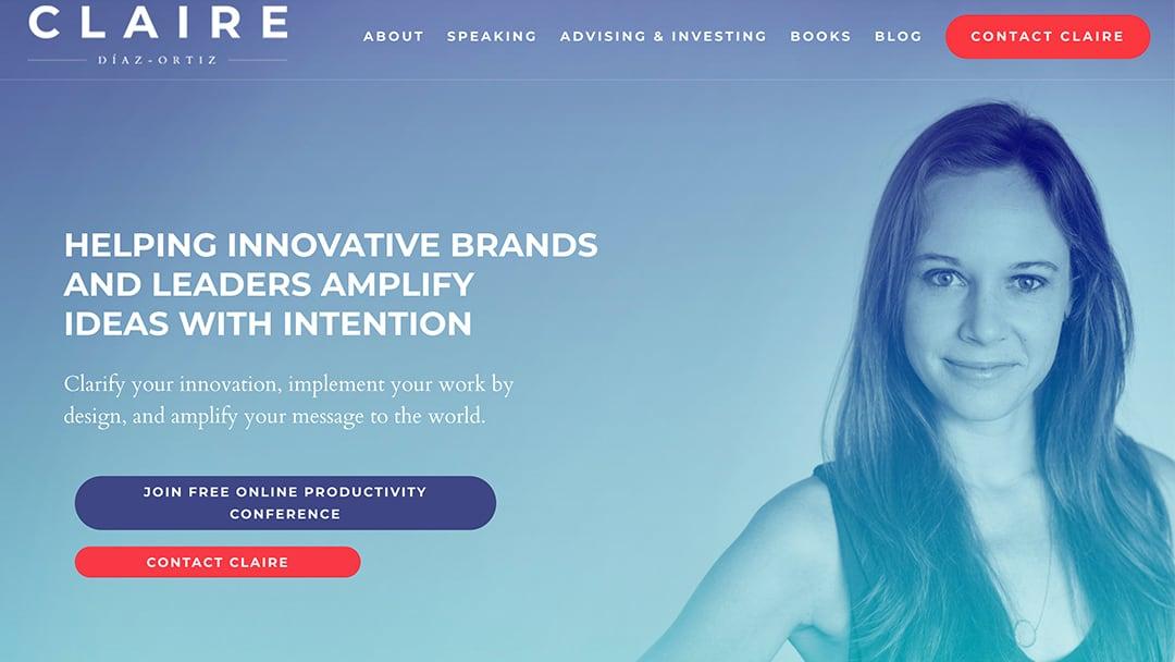 Claire Diaz Ortiz StoryBrand Website Example Agency Boon